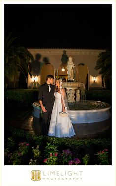 Limelight photography, www.stepintothelimelight.com, Weddings, Florida, Avila Golf and Country Club, Fountain, Night, Bride, Groom, Wedding Dress, White