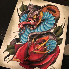 x marker, ink, and acrylic on hot press watercolor paper. Tattoo Sketches, Tattoo Drawings, Body Art Tattoos, Leg Tattoos, Japanese Snake Tattoo, Bauch Tattoos, Japan Tattoo Design, Arte Punk, Traditional Tattoo Art