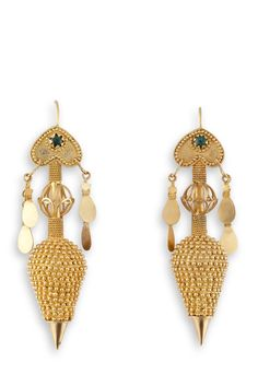 GORGEOUS gold filigree earrings with Emeralds. Handcrafted by Loredana Mandas loredanamandas.com