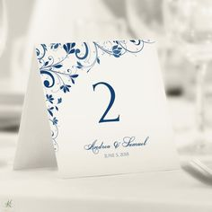Wedding anniversary table number tent cards