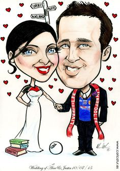 Muff and Urris! Caricatures by Allan Cavanagh  #Donegal #weddingcaricatures #weddingguestbooks Donegal, Team S, Wedding Guest Book, Caricatures, Wedding Attire, Disney Characters, Fictional Characters, Weddings, Disney Princess