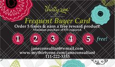 Thirty-One Organic Poppy Frequent Buyer Card Go to my website and purchase five times and you will receive a free gift.. www.mythirtyone.com/jennystotebags/