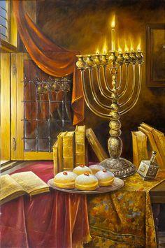 Oil on Canvas Original Art Painting Unique Artwork Signed by Alex Levin Hanukkah Cultura Judaica, Arte Judaica, Jewish History, Jewish Art, Shabbat Shalom Images, Jewish Celebrations, Prophetic Art, Torah, Biblical Art