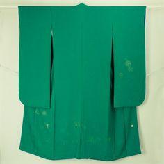 Green, phoenix pattern, furisode. Yamamoto Kansai / 山本寛斎ブランド振袖 緑地 地紋と織りの鳳凰花柄 振袖