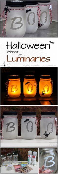 DIY Halloween Mason Jars Luminaries