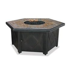 UniFlame 55-in. LP Gas Outdoor Firebowl with Decorative Slate Tile Mantel
