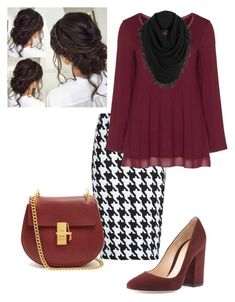 """""""Maroon n Black"""" by ohraee019 on Polyvore featuring MANGO, aprico, Gianvito Rossi, Chloé and White + Warren"""