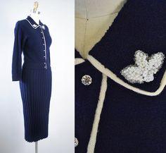 Vintage 50s Sweater DRESS Set / 1950s Navy BLUE by GeronimoVintage