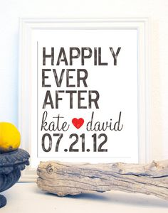 Happily Ever After Wedding Date Distressed Look Subway Typography Art Print