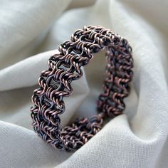 Chainmaille jewelry bracelet / oxidized copper bracelet / by Verha, $79.00