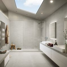 EVOLUTION Series : grey project 4x12 format on Wall  large format 24x24 Grey on Floor, 2x2 mosaic shower base