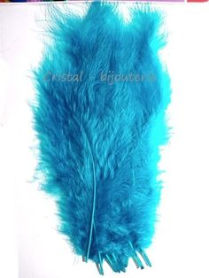 ♥PLU2-08♥ 10 PLUMAS NATURALES TEÑIDAS  FEATHER COLOR AZUL CLARO  13-15 CM♥