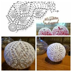 Wzór Szydło Adama Kordonek Maxi Szydełko 1,5 Crochet Christmas Decorations, Crochet Christmas Ornaments, Christmas Crochet Patterns, Holiday Crochet, Crochet Snowflakes, Crochet Doily Patterns, Crochet Doilies, Crochet Flowers, Christmas Crafts