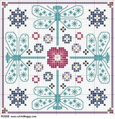 Cross-stitch dragonfly pattern.. no color chart available, just use the pattern as your color guide