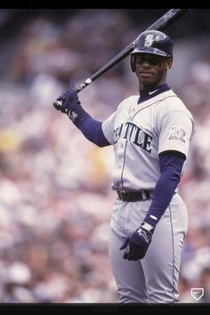 Ken Griffey Jr of the Seattle Mariners bats during a baseball game against the Baltimore Orioles on August 1 1987 at Memorial Stadium in. Mariners Baseball, Baseball Boys, Baseball Pants, Seattle Mariners, Baseball Stuff, Baseball Pictures, Sports Pictures, Sports Images, Mlb Players