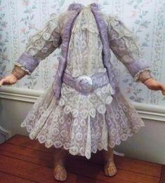 AUTHENTIC Antique Jumeau French RARE Purple Mohair Fur Trim Silk Lace Doll Dress