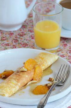 Vanilla-Ricotta Stuffed Crepes with Orange-Maple-Walnut Syrup