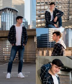 Providence High School senior guy photos with a view of the Uptown Charlotte skyline in the background taken on a rooftop of a parking garage. Softball Senior Pictures, Senior Boy Poses, Male Senior Pictures, Senior Guys, Guy Pictures, Senior Portraits, Senior Photos, Cheer Pictures, Guy Poses