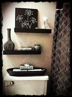 Small bathroom ideas, the more I see black floating shelves, the more I think this needs to happen