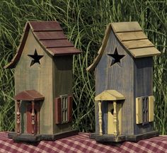 primitive porches | Tall Primitive Birdhouse With Porch