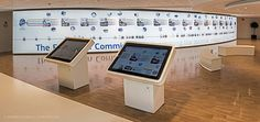 """lluminated """"timeline"""" wall spanning in a slight curve over almost 20 meters and showing the European Commission history from its beginnings until today. Linked to the """"timeline"""", two interactive touchscreen tables in all 24 official languages where visito…"""