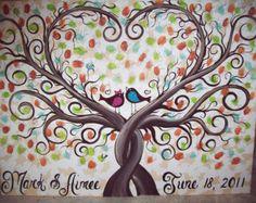 LARGE HEART OAK Thumbprint Guest Book Tree por LastingKeepsakes