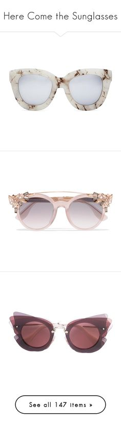 """Here Come the Sunglasses"" by tamara-40 ❤ liked on Polyvore featuring sunglasses, accessories, eyewear, glasses, favs, white marble, white sunglasses, cat eye sunglasses, round mirrored sunglasses and white lens sunglasses"