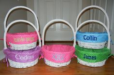 Monogrammed Easter Basket by SewChicNC on Etsy, $25.00