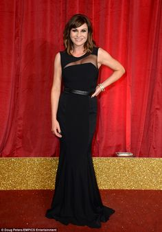 Elegant as ever: Emmerdale star Lucy Pargeter was leading the glamorous brigade of cast members as they descended upon the red carpet for the star-studded event at Hackney Empire in London on Saturday night