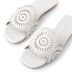 Leather Mules, Leather Flats, White Leather, Dressy Flip Flops, Laser Cut Leather, Flat Mules, Mule Sandals, White Flats, Spring Trends