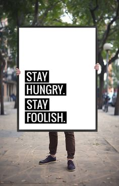"""Motivational Poster """"Stay Hungry Stay Foolish"""" Printable Poster Inspirational Typography Art, Motivational Quote Wall Art *DIGITAL DOWNLOAD*"""