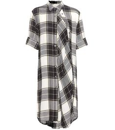 Mara black and white checked shirt dress