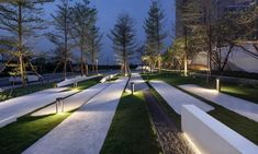 M e t r o s t u d i o 迈丘设计 Open Architecture, Landscape Architecture Design, Landscape Plans, Urban Landscape, Lighting Concepts, Lighting Design, Plaza Design, Modern Landscaping, Exterior Lighting