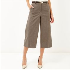 "NWT BCBG Suit Culottes Look effortlessly cool in these comfortable wide-leg culottes. Complement the pair with a loose-fit top and heels.  Sits on the waist. Wide-leg pant. Cropped silhouette. Flat front. Front welt pockets. Inseam, 22.5"". Machine Wash. Imported. BCBG Pants"