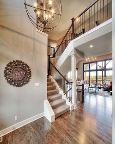 2 Story Entry Way New Home Interior Design Open Floor Plan Light