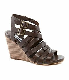 Steve Madden Venis 2Buckle Strap Wedge Sandal leather chocolate, natural 3.5h (69.99) 9/14 NA
