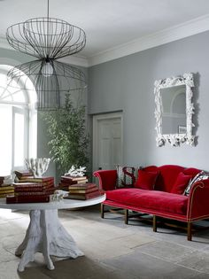 Red Sofas Design under Modern Style Living Room Combined With White Coffee Table