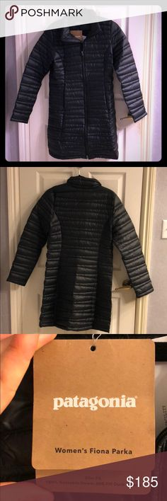 Women's Patagonia Fiona Down Parka Beautiful black Patagonia parka, slim fit makes it very flattering. Never worn, in mint condition. 600 fill duck down so extremely lightweight and compactable. Originally $300 jacket Patagonia Jackets & Coats