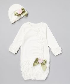 White & Pink Floral Gown & Beanie - Infant