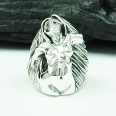SEXY NAKED BONDAGE 925 STERLING SILVER US Size 10 BIKER ROCKER  RING tan-r024 #Handmade