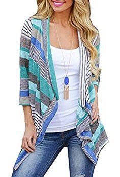 Women's Fashion Geometric Print Drape Front Cable Knit Cardigan Blue