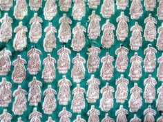 Indian Hand Block Print Cotton Fabric Natural Printed Handmade Sanganeri A375 #Unbranded