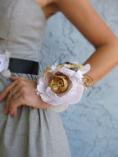 Flower Wrist Corsage Wedding Flower Accessory by RomanticARTlife, $47.95