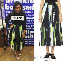"""Mindy's Kenzo print midi skirt from her """"Why Not Me?"""" booksigning yesterday!"""