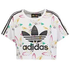adidas Originals Print T-shirt white/multcoloured (£23) ❤ liked on Polyvore featuring tops, t-shirts, blusas, crop top, pattern t shirt, pattern tops, print t shirts, white tee and print tee
