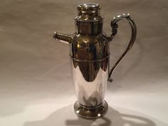 Vintage Silver Cocktail Shaker With Handle From The by GWMcGinneys