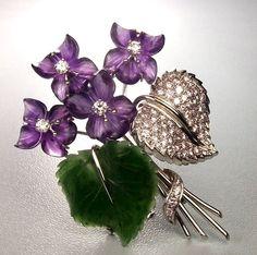 Amazing Vintage Bouquet of Violets Brooch - Diamonds, Amethyst, Jade