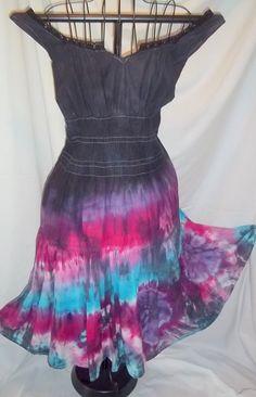 Tie Dye Flirty Sun Dress in Black  Purple Fuschia by RedeemedByRed,  Very cute