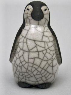 Chloe Harford - Raku Ceramic Baby Penguin, Resting