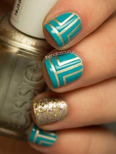 Turquoise With Gold Nail Art 15 Must Try Blue Manicures For Summer